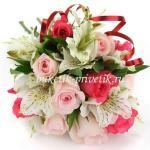 Букет из 9 роз и альстромерий